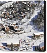 The Busy Chaudanne In Meribel The Heart Of Meribel In The Three Valleys Resort France Canvas Print