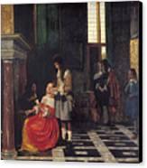 The Card Players Canvas Print by  Pieter de Hooch