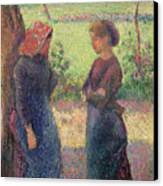 The Chat Canvas Print by Camille Pissarro
