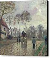 The Coach To Louveciennes Canvas Print by Camille Pissarro