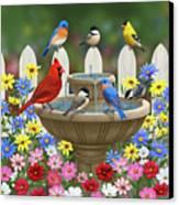 The Colors Of Spring - Bird Fountain In Flower Garden Canvas Print