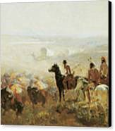 The Conquest Of The Prairie Canvas Print by Irving R Bacon