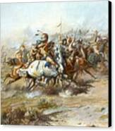 The Custer Fight Canvas Print by Charles Russell