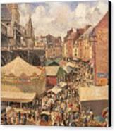 The Fair In Dieppe Canvas Print by Camille Pissarro