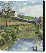 The Farm At Osny Canvas Print by Camille Pissarro