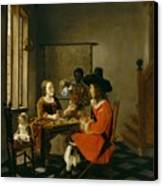 The Game Of Cards Canvas Print by Hendrik van der Burch