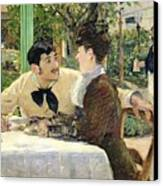 The Garden Of Pere Lathuille Canvas Print by Edouard Manet