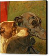 The Greyhounds Charley And Jimmy In An Interior Canvas Print