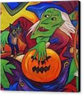 The Happy Witch Cat And Pumpkin Canvas Print
