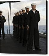The Honor Guard Stands At Parade Rest Canvas Print by Stocktrek Images