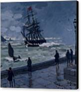 The Jetty At Le Havre In Bad Weather Canvas Print