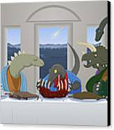 The Last Supper Of Raptor Jesus Canvas Print by Greasy Moose