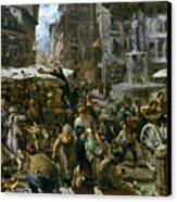 The Market Of Verona Canvas Print by Adolph Friedrich Erdmann von Menzel