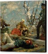 The Midday Rest Sailors Yarning Canvas Print by Henry Scott Tuke