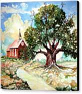 The Old Oak Church Canvas Print