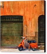 The Orange Vespa Canvas Print by Karen Fleschler