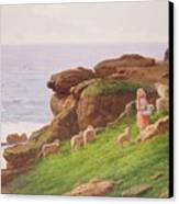 The Pet Lamb Canvas Print by J Hardwicke Lewis