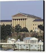 The Philly Art Museum And Waterworks Canvas Print