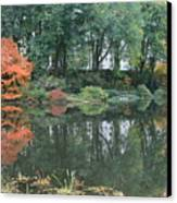 The Pond In Central Park In Fall Canvas Print by Christopher Kirby