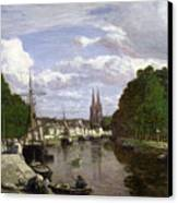 The Port At Quimper Canvas Print by Eugene Louis Boudin