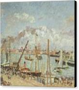 The Port Of Le Havre In The Afternoon Sun Canvas Print by Camille Pissarro