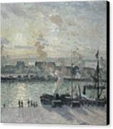 The Port Of Rouen Canvas Print by Camille Pissarro