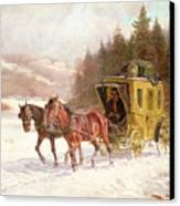 The Post Coach In The Snow Canvas Print by Fritz van der Venne