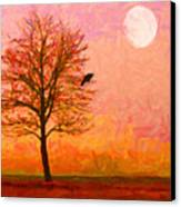 The Raven And The Moon Canvas Print by Wingsdomain Art and Photography