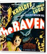 The Raven, From Left Boris Karloff Canvas Print by Everett