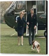The Reagans Being Greeted By Their Dog Canvas Print
