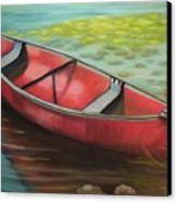 The Red Canoe Canvas Print by Marcia  Hero