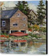 The Red Canoe Canvas Print by Richard De Wolfe
