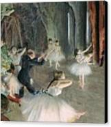 The Rehearsal Of The Ballet On Stage Canvas Print by Edgar Degas