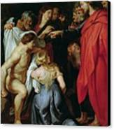 The Resurrection Of Lazarus Canvas Print by Rubens