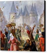 The Return Of Saint Louis Blanche Of Castille To Notre Dame Paris Canvas Print by Pierre Charles Marquis