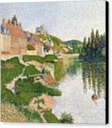 The River Bank Canvas Print by Paul Signac