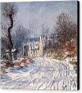 The Road To Giverny In Winter Canvas Print by Claude Monet