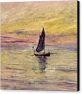 The Sailing Boat Evening Effect Canvas Print by Claude Monet