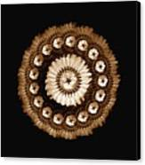 The Sepia Feather And Beadwork Of Flower Canvas Print by Jacqueline Migell