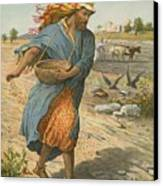 The Sower Sowing The Seed Canvas Print by English School