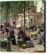 The Square In Front Of Les Halles Canvas Print by Victor Gabriel Gilbert