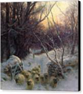 The Sun Had Closed The Winter Day Canvas Print by Joseph Farquharson