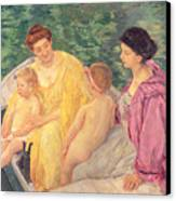 The Swim Or Two Mothers And Their Children On A Boat Canvas Print