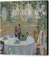The Table In The Sun In The Garden Canvas Print by Henri Le Sidaner