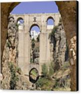 The Tajo De Ronda And Puente Nuevo Bridge Andalucia Spain Europe Canvas Print