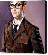 The Tenth Doctor And His Tardis Canvas Print
