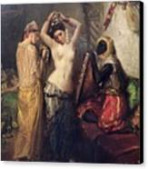 The Toilet In The Seraglio Canvas Print by Theodore Chasseriau