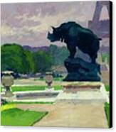 The Trocadero Gardens And The Rhinoceros Canvas Print by Jules Ernest Renoux