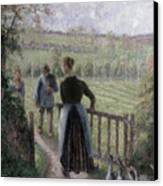 The Woman With The Geese Canvas Print by Camille Pissarro