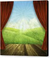 Theater Stage With Red Curtains And Nature Background  Canvas Print